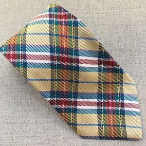 C.E.O. Multicolour Plaid Pattern Silk Tie